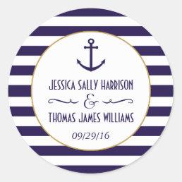 Nautical Navy & White Stripe Anchor Wedding Favor Classic Round Sticker