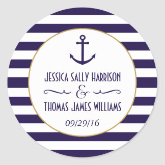 Nautical Navy & White Stripe Anchor Wedding Favor Classic Round Sticker