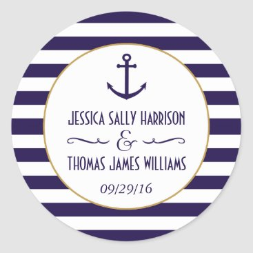 Beach Themed Nautical Navy & White Stripe Anchor Wedding Favor Classic Round Sticker
