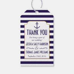Nautical Navy & White Stripe Anchor Wedding Favor Gift Tags