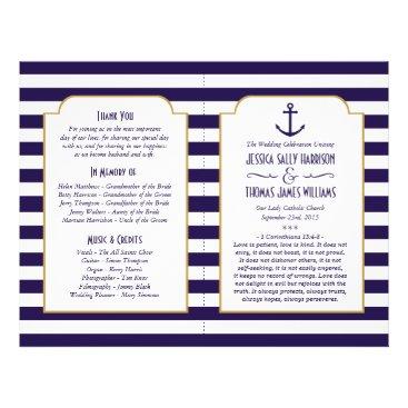 Beach Themed Nautical Navy & White Stripe Anchor Wedding Flyer