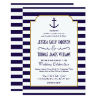 Nautical Navy & White Stripe Anchor Wedding Invitation
