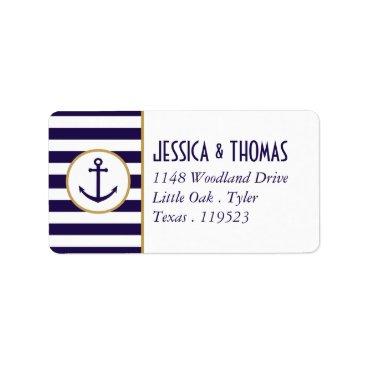 Beach Themed Nautical Navy & White Stripe Anchor Wedding Label