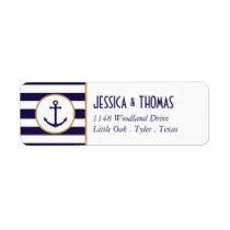 Nautical Navy & White Stripe Anchor Wedding Label