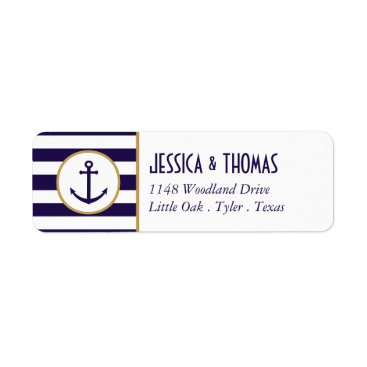 Beach Themed Nautical Navy & White Stripe Anchor Wedding Label