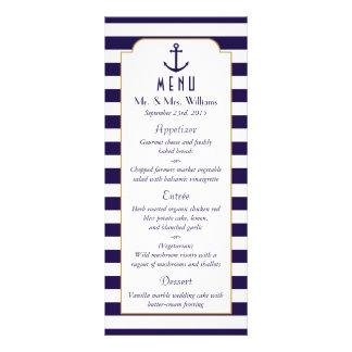 Nautical Navy & White Stripe Anchor Wedding Menu