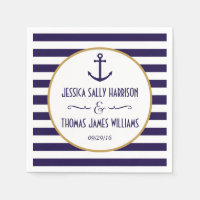 Nautical Navy & White Stripe Anchor Wedding Paper Napkin