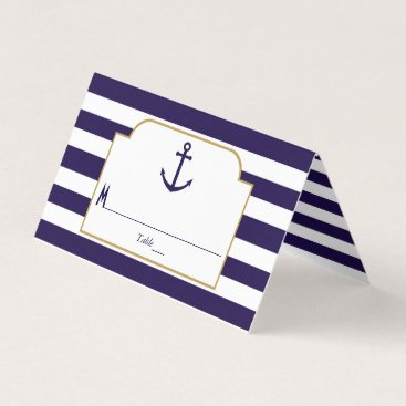 Beach Themed Nautical Navy & White Stripe Anchor Wedding Place Card