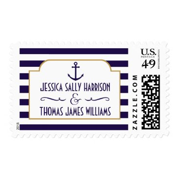 Beach Themed Nautical Navy & White Stripe Anchor Wedding Postage