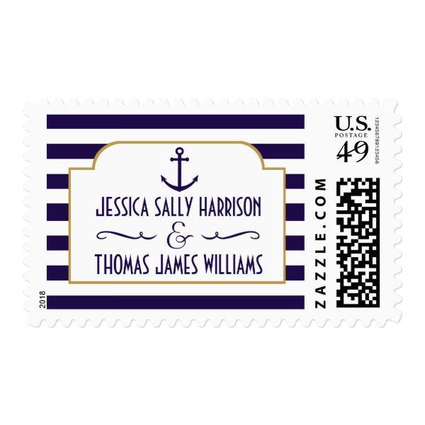 Nautical Navy & White Stripe Anchor Wedding Postage
