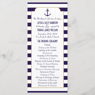 Nautical Navy White Stripe Anchor Wedding Program