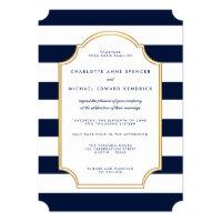 Nautical Navy | White Stripe Modern Wedding Card