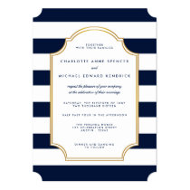 Nautical Navy | White Stripe Modern Wedding Invitation