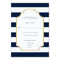 Nautical Navy | White Stripe Modern Wedding RSVP Invitation