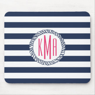Nautical Navy & White Stripe w/ Pink Monogram Mouse Pad