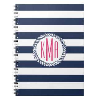Nautical Navy & White Stripe w/ Pink Monogram Notebook