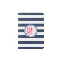 Nautical Navy & White Stripe w/ Pink Monogram Passport Holder