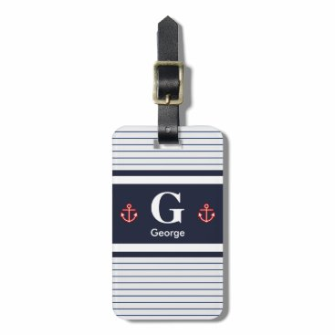 Nautical Navy White Stripes Monogram Luggage Tag