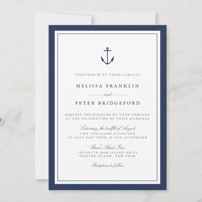 Nautical Navy & White Wedding Invitation   Anchor