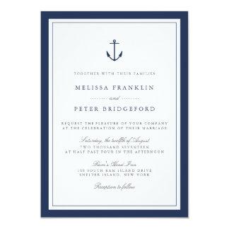 Nautical Navy U0026amp; White Wedding Invitation | Anchor