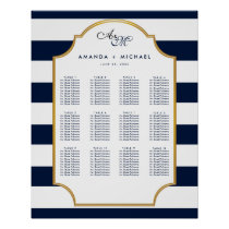 Nautical Navy | White Wedding Seating Chart Poster