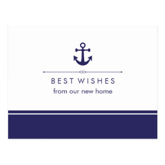 Nautical New Address Navy and White with Anchor Postcard
