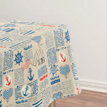 Nautical Newspaper Pattern Tablecloth