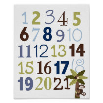 Nautical Numbers Nursery Wall Art Print
