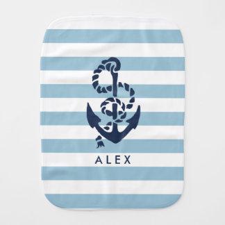 Nautical Nursery Blue Stripe Anchor Personalized Baby Burp Cloths