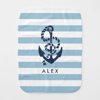Nautical Nursery Blue Stripe Anchor Personalized Burp Cloth