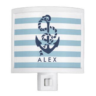 Nautical Nursery Blue Stripe Anchor Personalized Night Light