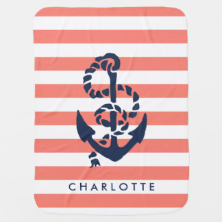 Nautical Nursery Coral Stripe Anchor Personalized Swaddle Blanket