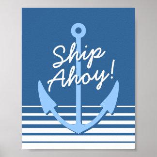 Nautical nursery decor   Baby blue anchor poster