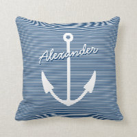 Nautical nursery decor pillow with boat anchor