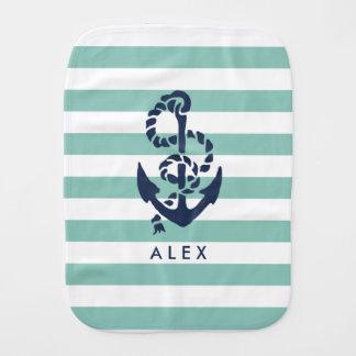 Nautical Nursery Mint Stripe Anchor Personalized Baby Burp Cloths