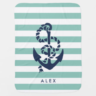 Nautical Nursery Mint Stripe Anchor Personalized Stroller Blanket