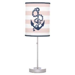 Nautical Nursery Pink Stripe Anchor Desk Lamp