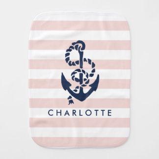 Nautical Nursery Pink Stripe Anchor Personalized Baby Burp Cloth