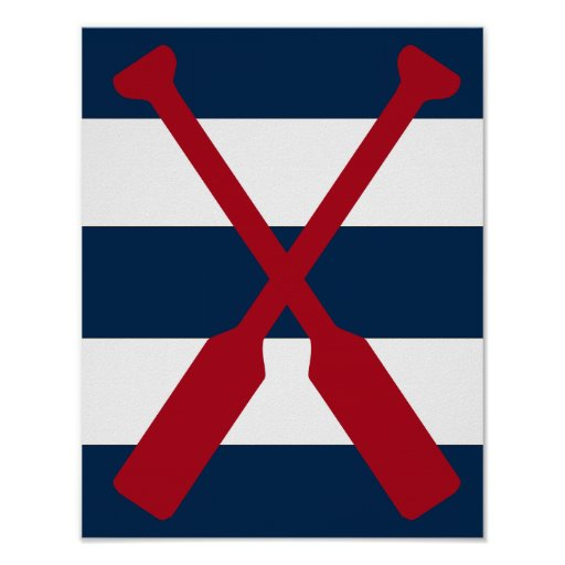Nautical oars print red, navy and white