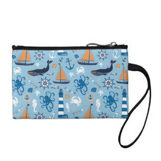 Nautical Ocean Blue and Orange Coin Purse