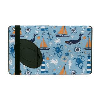 Nautical Ocean Blue and Orange iPad Cover