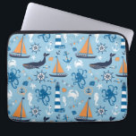 """Nautical Ocean Blue and Orange Laptop Sleeve<br><div class=""""desc"""">Ocean and nautical theme design features whales,  orange sailboats,  octopus,  crabs,  seahorses,  ships wheels,  anchors,  lighthouses,  and more on a pretty light blue background.</div>"""