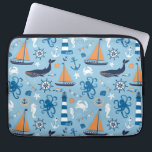 "Nautical Ocean Blue and Orange Laptop Sleeve<br><div class=""desc"">Ocean and nautical theme design features whales,  orange sailboats,  octopus,  crabs,  seahorses,  ships wheels,  anchors,  lighthouses,  and more on a pretty light blue background.</div>"