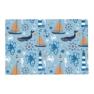 Nautical Ocean Blue and Orange Laminated Place Mat