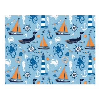 Nautical Ocean Blue and Orange Postcards