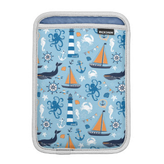 Nautical Ocean Blue and Orange Sleeve For iPad Mini