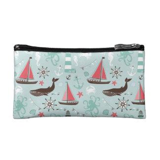 Nautical Ocean Blue and Rose Cosmetic Bag