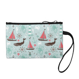 Nautical Ocean Blue and Rose Coin Purse