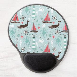Nautical Ocean Blue and Rose Gel Mousepad