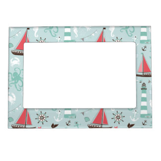 Nautical Ocean Blue and Rose Magnetic Photo Frames